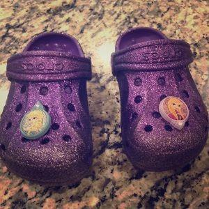 Other - Girls size 8 9 purple sparkle crocs